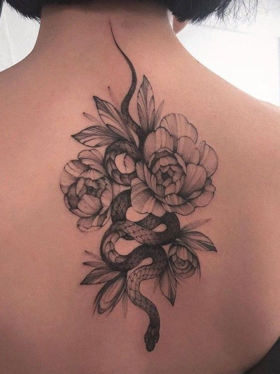 What is the meaning of the snake  peony tattoo pattern