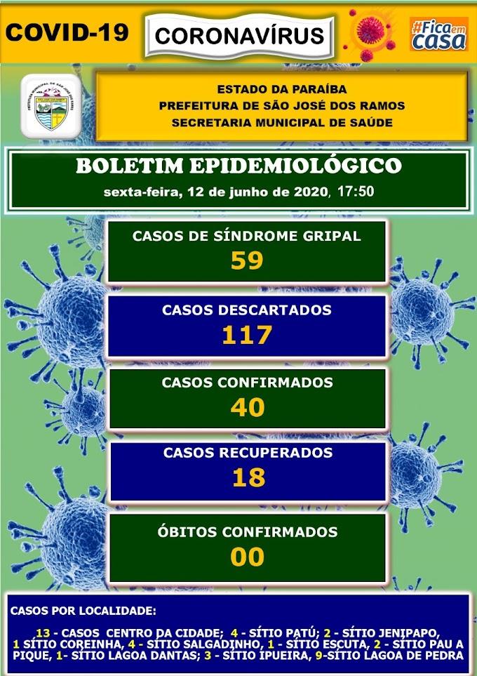 BOLETIM CORONA-VÍRUS (São José dos Ramos): Fique informado sobre atualizações em sua cidade. (12/06/2020).