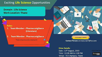 TCS - Walk-in interview for Pharmacovigilance on 13th August, 2019