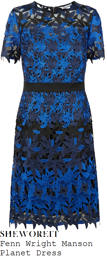 lorraine-kelly-fenn-wright-manson-planet-electric-blue-navy-blue-and-black-sheer-floral-cut-work-lace-overlay-short-sleeve-contrast-waist-detail-a-line-shift-dress