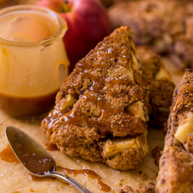 SALTED CARAMEL APPLE SCONES