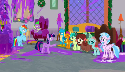 Twilight, Rainbow and Spike confront the Student Six in a purple goo-covered room