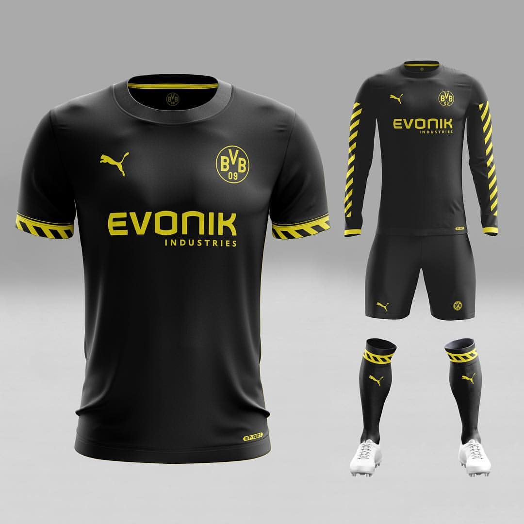 6eb66f42e Look at the all new fantasy kit of Borussia Dortmund. Black tshirt and  yellow stripes on the shirt create very attractive for the viewers.
