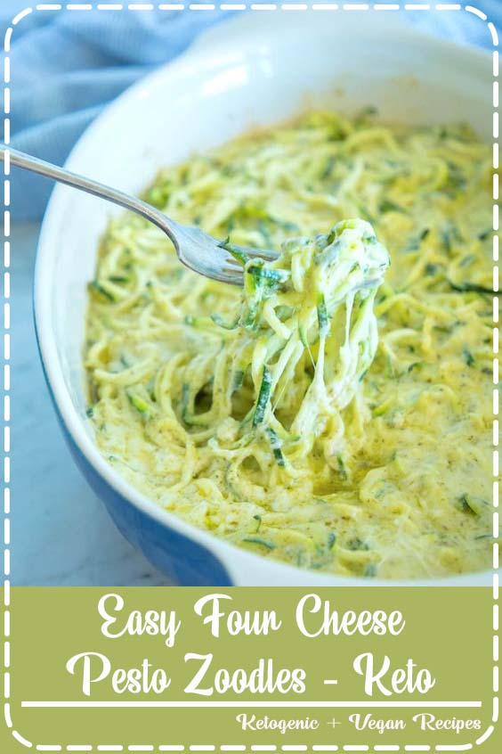 This Easy Four Cheese Pesto Zoodles recipe is going to Make Easy Four Cheese Pesto Zoodles - Keto