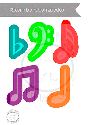 Recortable de notas musicales