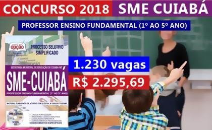 Concurso SME Cuiabá 2018 Professor Ensino Fundamental