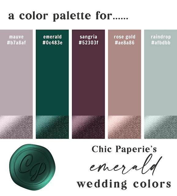 A modern luxury wedding color scheme. Wedding color palette card: Emerald Green, Mauve Purple, Sangria Purple, Rose Gold, and Cascade