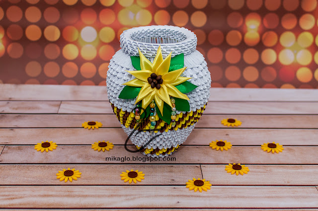 710. Wazon z origami / 3d origami vase with sunflower