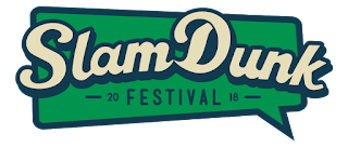 A big dark green rectangular thought bubble with Slam Dunk in chunky cursive white bubble font with Festival in small black capital letters underneath it on a white abckground.