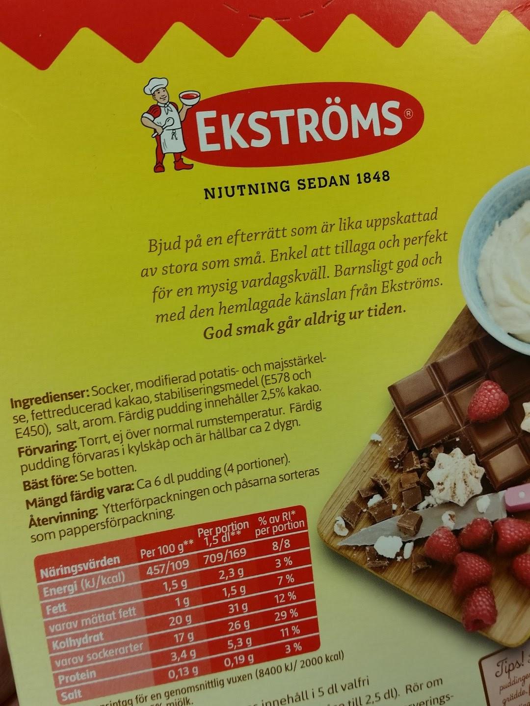 ekströms chokladpudding tillagning
