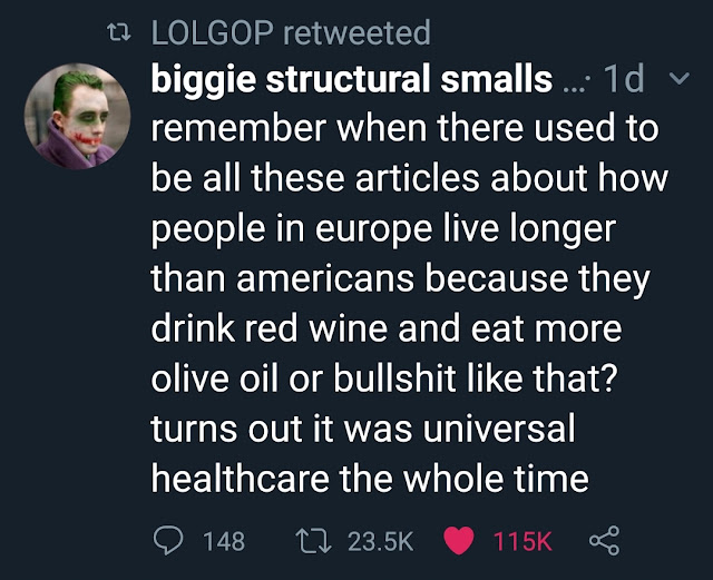photo caption - tz Lolgop retweeted biggie structural smalls ... 10 v remember when there used to be all these articles about how people in europe live longer than americans because they drink red wine and eat more olive oil or bullshit that? turns out it