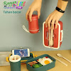 Lunchbox 3 Sekat dengan Dudukan Handphone, Free Sendok dan Mangkuk Sup