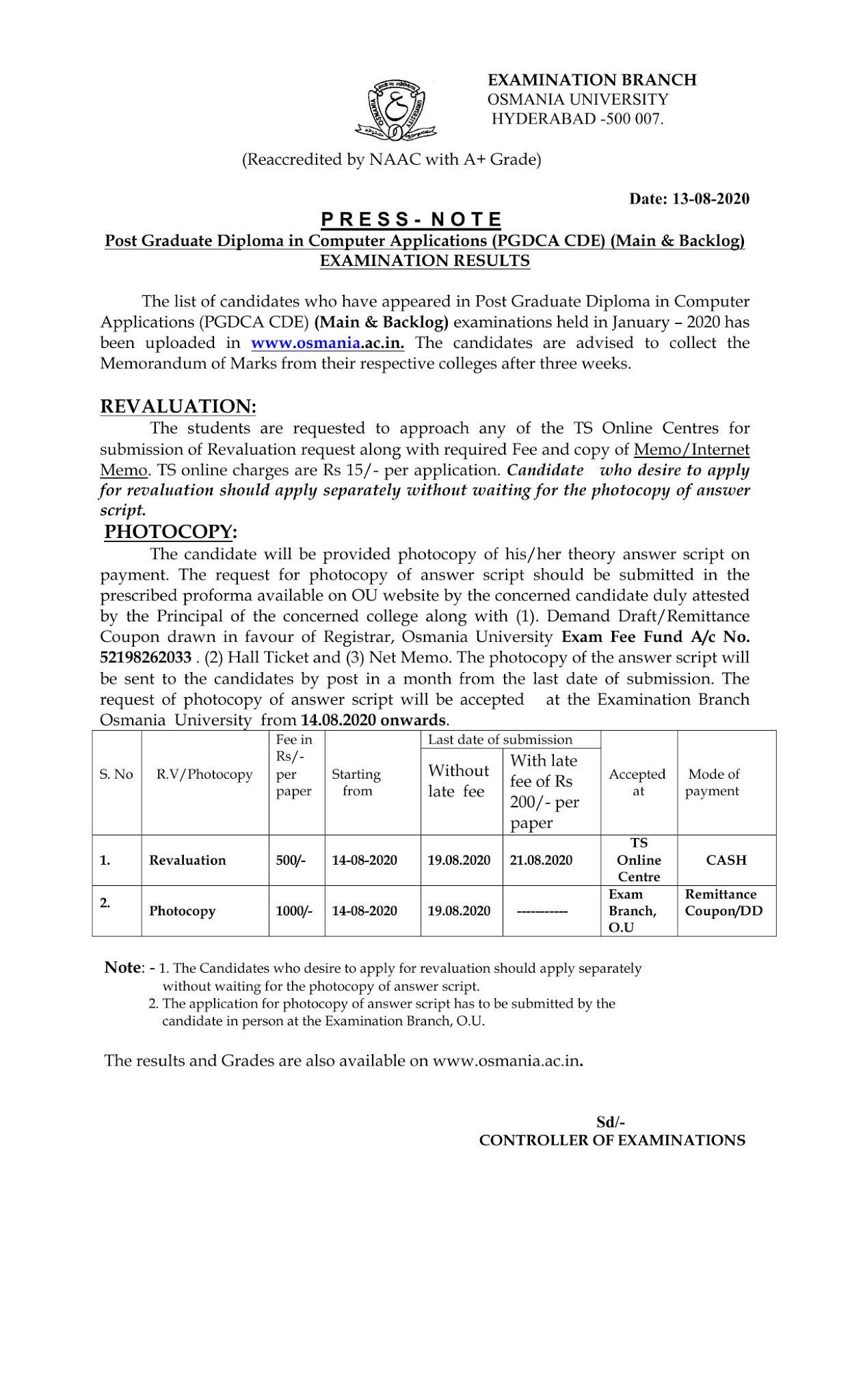 Osmania University (PGDCA CDE) Sep 2020 Revaluation Fee Notification
