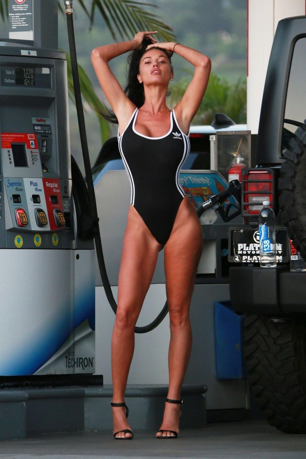 Charlie Riina At a photoshoot at a gas station in Malibu