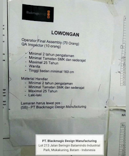 Lowongan Kerja PT. Blackmagic Design Manufacturing