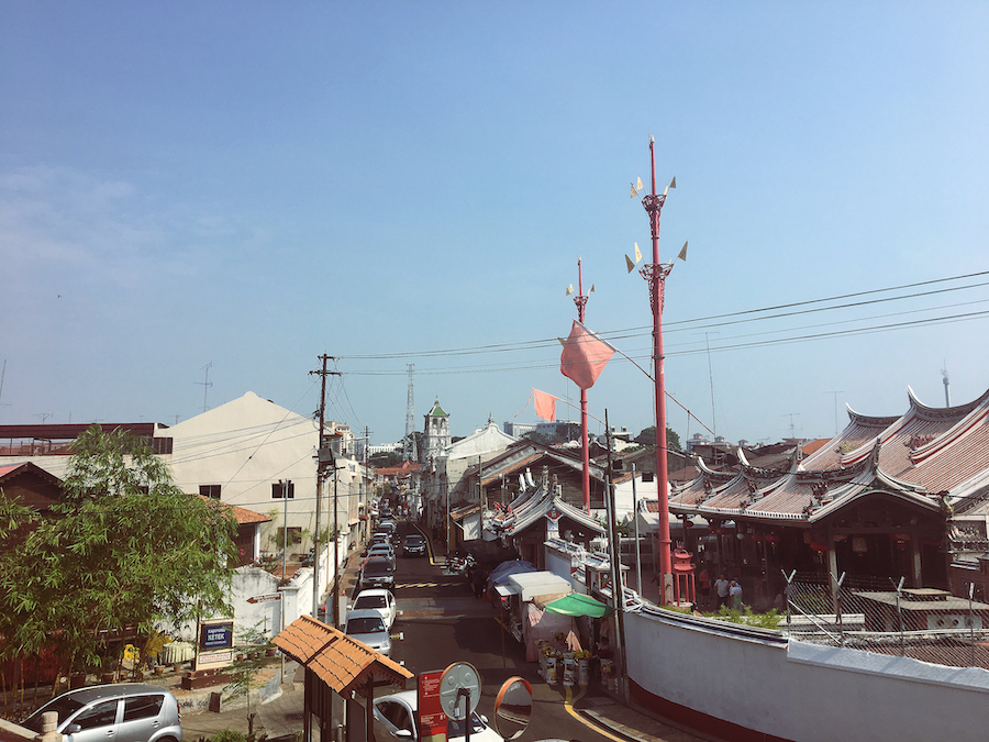 View of the streets of Malacca Malaysia from a temple