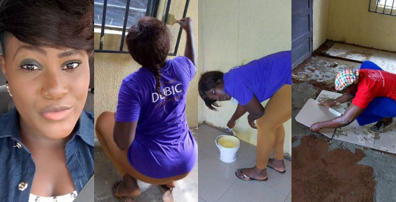 PHOTOS: Meet The Beautiful UNIZIK Graduate Who Does Tiling And Painting For A Living And is Not Ashamed Of Her Job (MUST SEE)