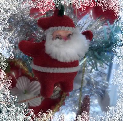 1960s mid-century flocked santa ornament dimestore