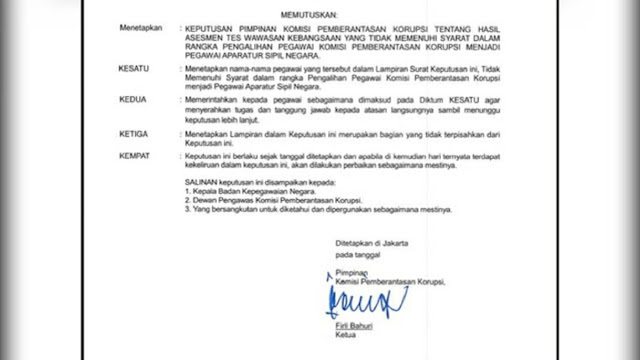 Beredar Potongan SK Penonaktifan Pegawai KPK yang Tak Lolos ASN, Ini Kata Jubir