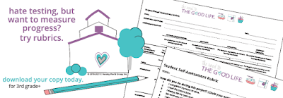 Illustration of a schoolhouse with two assessment rubrics--one a student self-assessment and the other a project-based assessment--stacked one on top the other alongside a pencil.