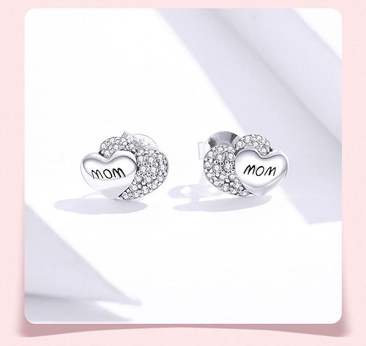Mom.媽咪 Love 925純銀鋯石耳環