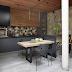 Espaço gourmet moderno e rústico com pedra moledo e forro madeira ripada!