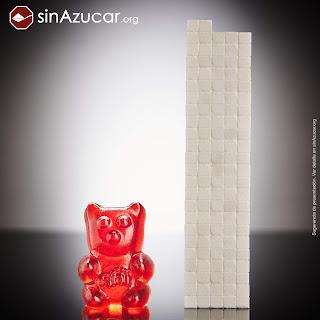 Un osito Mega XXL de la marca Fini (900g) contiene 468g de azúcar, equivalente a 117 terrones.