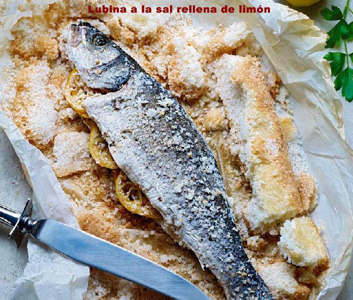 La receter a lubina a la sal rellena de lim n for Salsa para lubina a la sal