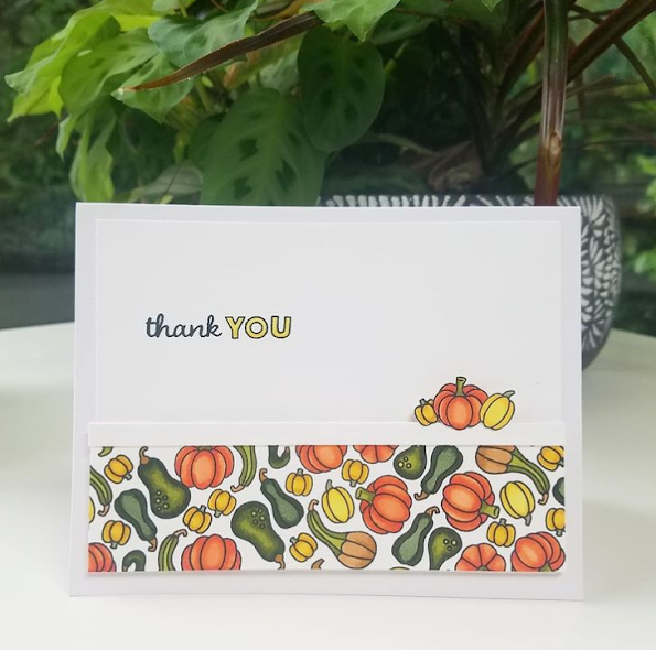 Thank you by Rookie Card Maker features Heartfelt Gourds by Newton's Nook Designs; #inkypaws, #newtonsnook, #thankyoucards, #cardmaking
