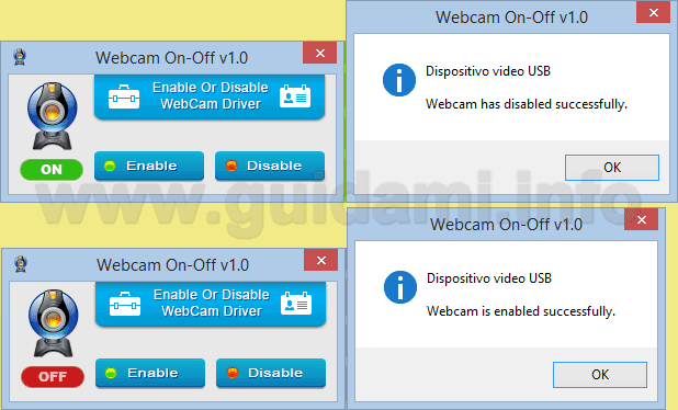 WebCam On-Off programma per Windows