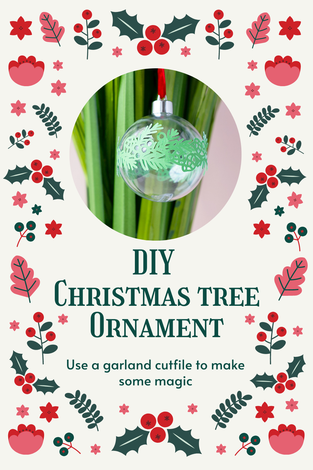 A DIY Christmas tree ornament with a garland
