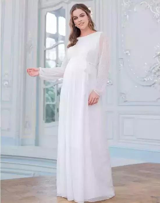 Robe mariée grossesse en mousseline texturée - Seraphine