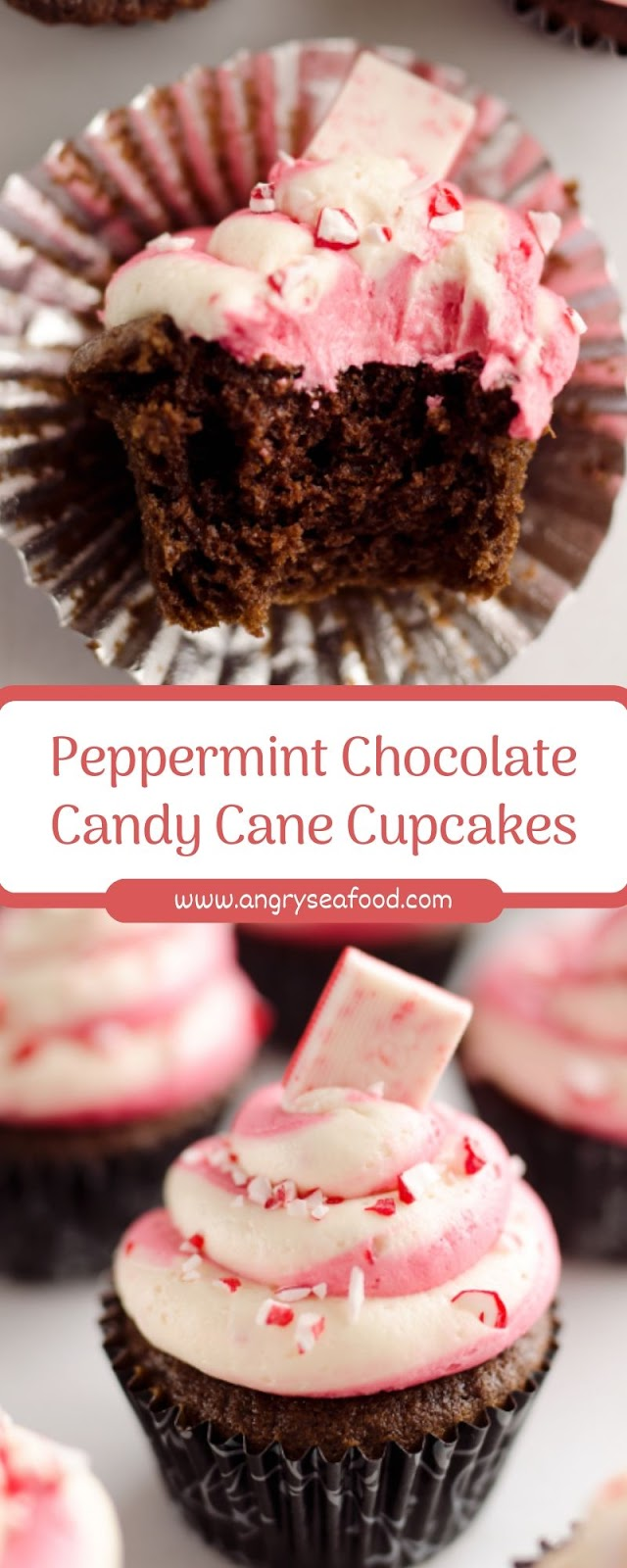 Peppermint Chocolate Candy Cane Cupcakes