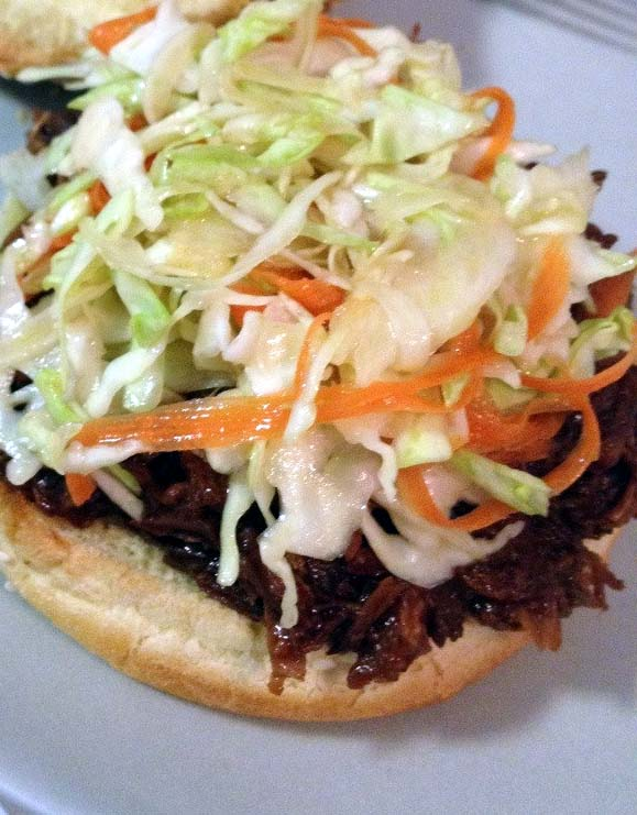 BBQ Root Beer Pulled Pork Sandwich with Coleslaw