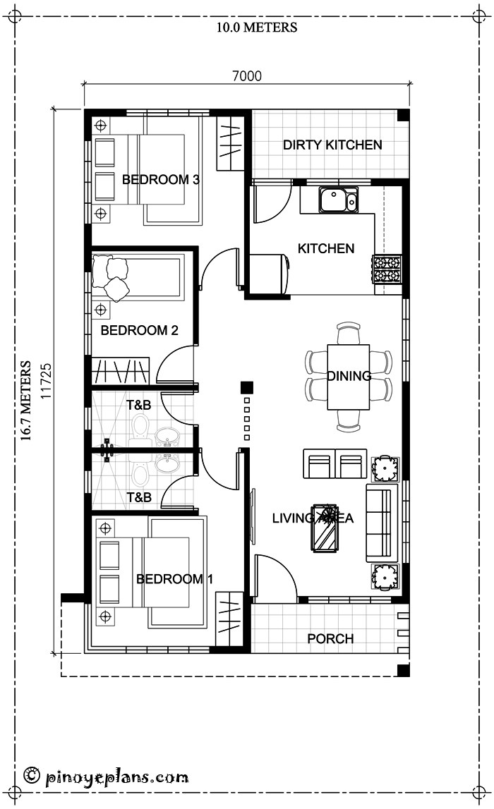 Small bungalow home blueprints and floor plans with 3 bedrooms for Home design 84 square metres