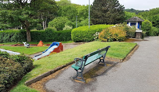 A bench at the Victoria Park Crazy Golf course in Scarborough