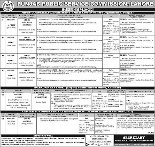 Punjab Public Service Commission (PPSC) Jobs July 2021