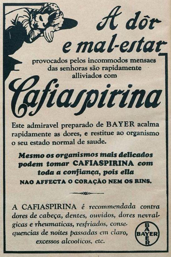 Propaganda antiga da Bayer promovendo a Cafiaspirina no começo dos anos 30