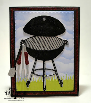 Our Daily Bread Designs Stamp Set: Grill Master, Paper Collections: Patriotic, Chalkboard, Birthday Brights, Custom Dies: Pierced Rectangles, Rectangles, Double Stitched Rectangles, Barbeque Tools, BBQ Grill, Grass Lawn, Clouds & Raindrops
