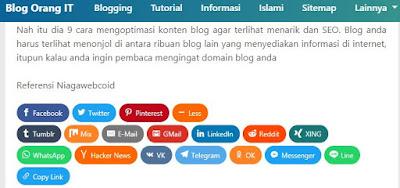 Membagikan konten blog ke sosial media