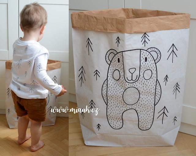 papírový pytel na hračky medvěd