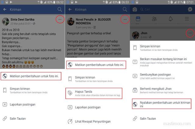 Cara stop atau menonaktifkan pemberitahuan Status Facebook