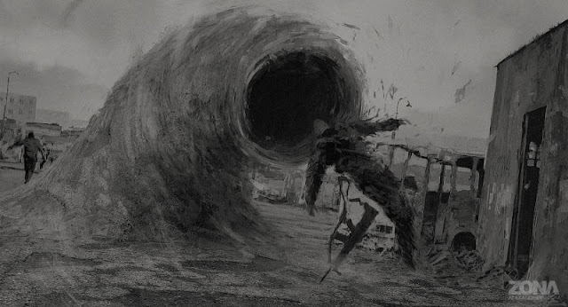 Greyscale iamge dominated by swirling, worm-type creature emerging from the ground and sucking the a figure towards its gaping mouth, causing the figure to drop their assault rifle. In the distance, a similar figure appears to be strolling away, oblivious or unconcerned.