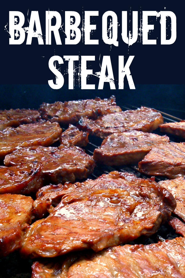 Thinly sliced steaks marinated in homemade barbeque sauce then grilled to smoky perfection - the perfect way to serve steak without breaking the bank!
