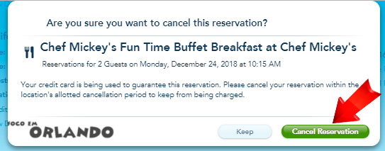 Reserva de restaurante no Walt Disney World, Orlando