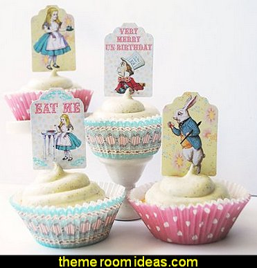 Alice in Wonderland Cupcake Kit  Alice in Wonderland party decorating ideas - Alice in Wonderland theme party decorations - Alice in Wonderland costumes - Alice in Wonderlnd wall decals - Alice in Wonderland wall murals - tea party theme Alice in Wonderland Tea Party