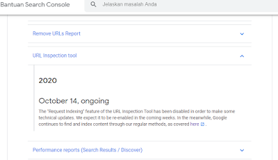 Webmaster Tool sedang Error tidak bisa Index Page (REQUEST INDEXING)