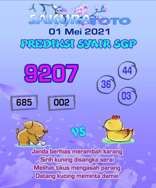 Syair Sakuratoto Singapore Sabtu 01 Mei 2021