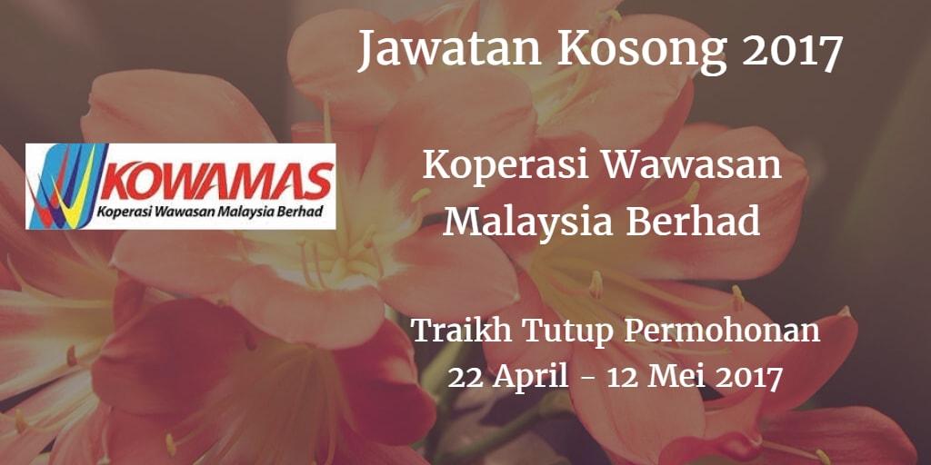 Jawatan Kosong KOWAMAS 22 April - 12 Mei 2017