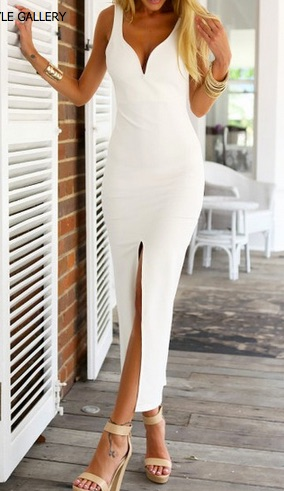 White Strap Backless Split Maxi Dress